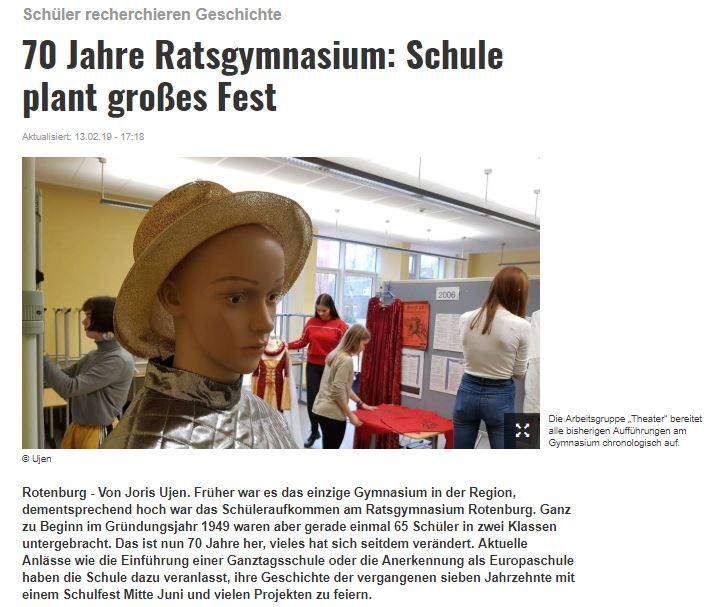 Kreiszeitung berichtet über Jubiläumsvorbereitungen am Ratsgymnasium