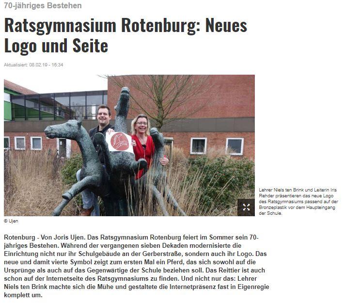 Artikel der Rotenburger Kreiszetung zu neuer Homepage und neuem Logo des Ratsgymnasiums