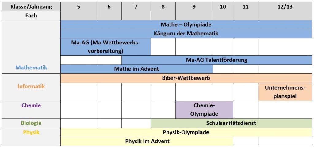 Übersicht der MINT-Wettbewerbe am Ratsgymnasium